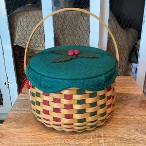 Longaberger Christmas Caroling Basket liner lid 03